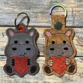 ITH Valentine Hippo Fobs 4×4 and 5×7 included-  DIGITAL Embroidery DESIGN