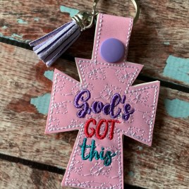 ITH God's Got This Fobs 4×4 and 5×7 included-  DIGITAL Embroidery DESIGN