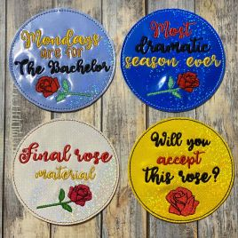 ITH Bachelor coaster set 4×4 – DIGITAL Embroidery DESIGN