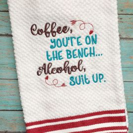 Coffee on the bench – 3 sizes – Digital Embroidery Design