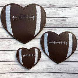ITH – Football Heart Felties – 3 sizes – 4×4 and 5×7 Grouped- Digital Embroidery Design