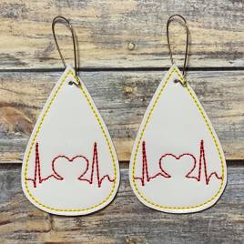 ITH – Heart EKG Tear Drop Earrings – 3 sizes – 4×4 and 5×7 Grouped- Digital Embroidery Design