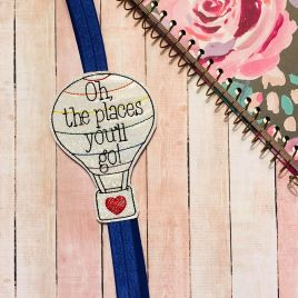 ITH – Oh the places – Book Band – Digital Embroidery Design