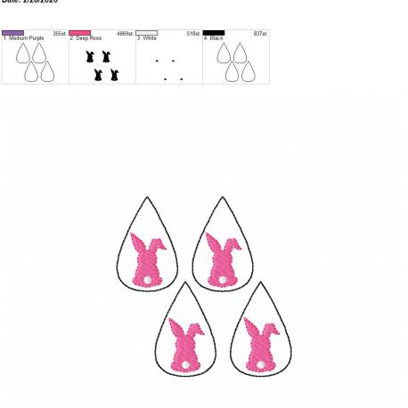 Bunny tear drop earrings 2 inch 4×4 grouped