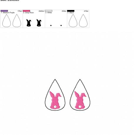 Bunny tear drop earrings 2 inch set