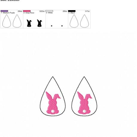 Bunny tear drop earrings 2.5 inch set