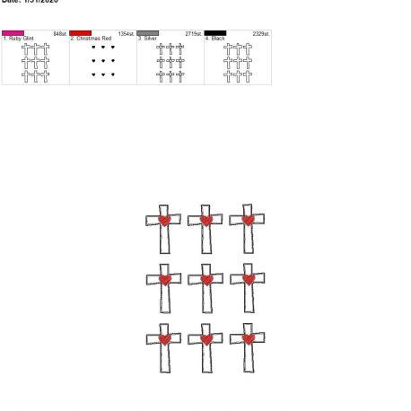 Sketch heart cross felties 1.75 inch 5×7 grouped