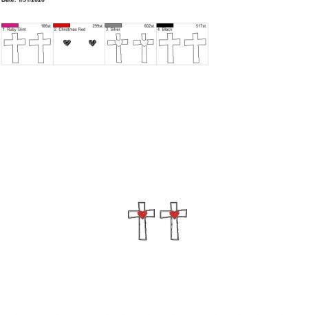 Sketch heart cross felties 1.75 inch pair 4×4
