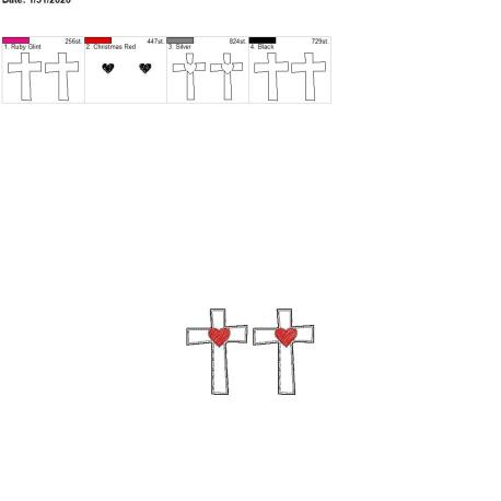 Sketch heart cross felties 2.5 inch pair 4×4