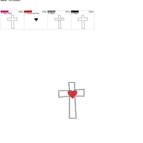 Sketch heart cross felties 3.75 inch 4×4