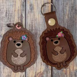 ITH Hedgehog Girl Fobs 4×4 and 5×7 included –  DIGITAL Embroidery DESIGN