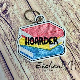ITH Book Hoarder Fobs 4×4 and 5×7 included –  DIGITAL Embroidery DESIGN