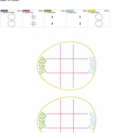 Easter Egg tic tac toe board 5×7 grouped