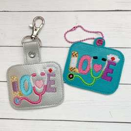 ITH Nurse Love Tab and eyelet Fobs 4×4 and 5×7 included- DIGITAL Embroidery DESIGN