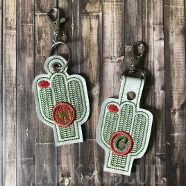 ITH Cactus Applique Fobs 4×4 and 5×7 included- DIGITAL Embroidery DESIGN