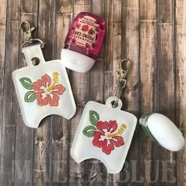 ITH Hibiscus Sketch Sanitizer Holders 4×4 and 5×7 included- DIGITAL Embroidery DESIGN