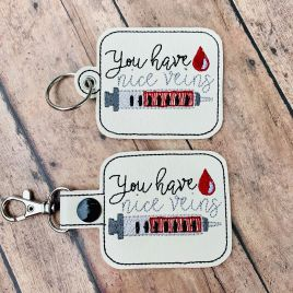 ITH You Have Nice Veins Fobs 4×4 and 5×7 included- DIGITAL Embroidery DESIGN