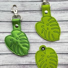 ITH Monstera Leaf Fobs 4×4 and 5×7 included- DIGITAL Embroidery DESIGN