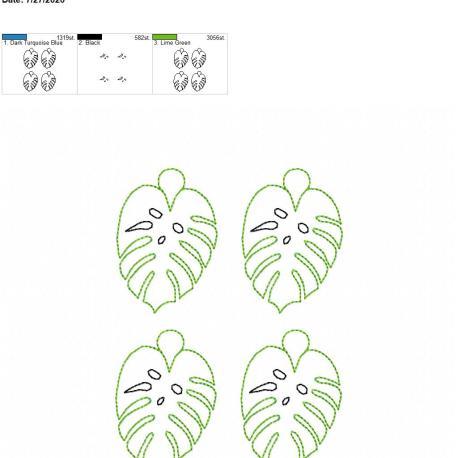 Monstera leaf eyelet 5×7 grouped