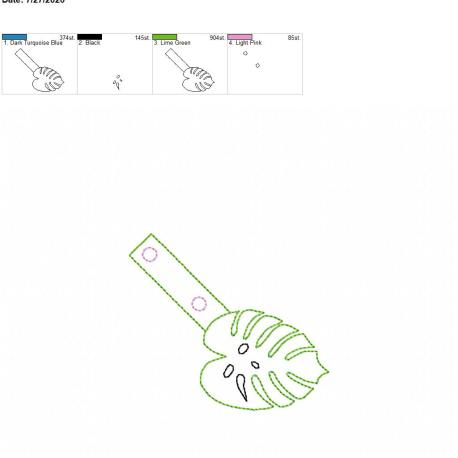 Monstera leaf snaptab 4×4