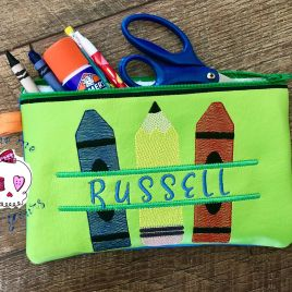 ITH – School Supplies Zipper Bag – 2 sizes – Digital Embroidery Design