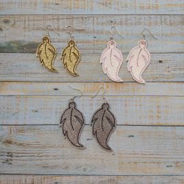 ITH – Leaf Earrings – 3 sizes – 4×4 and 5×7 Grouped- Digital Embroidery Design