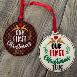 ITH – Our First Christmas 2020 Ornament 4×4 and 5×7 grouped – Digital Embroidery Design