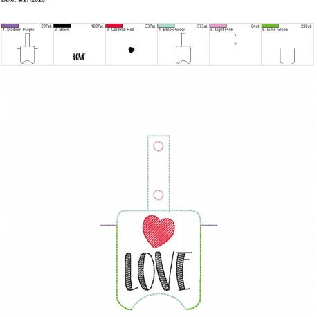 Love Sanitizer holder snap tab 5×7
