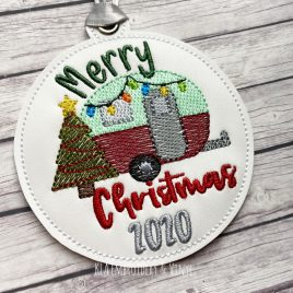 ITH – Merry Christmas Camper 2020 Ornament 4×4 and 5×7 grouped – Digital Embroidery Design
