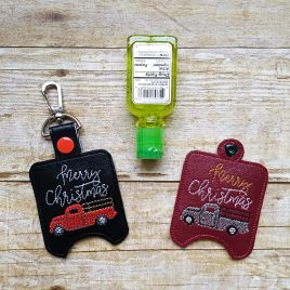 ITH Merry Christmas Vintage Truck Sanitizer Holders 4×4 and 5×7 included- DIGITAL Embroidery DESIGN