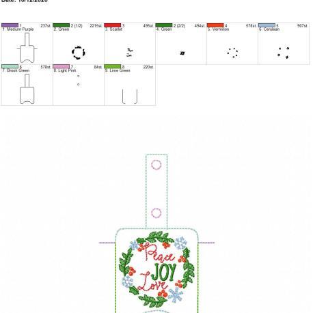 Peace Joy Love Sanitizer holder snap tab 5×7