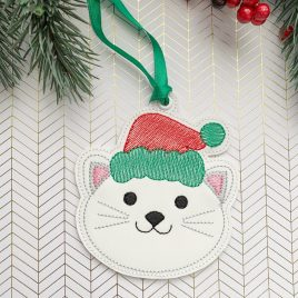 Christmas Cat Ornament – Digital Embroidery Design