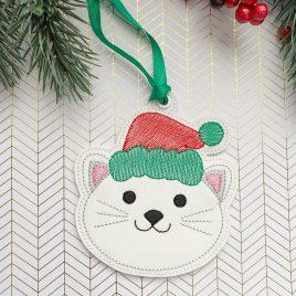 Christmas Cat Ornament – Digital Embroidery Design