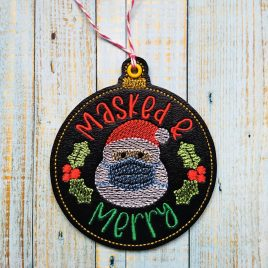 Masked and Merry Ornament – Digital Embroidery Design