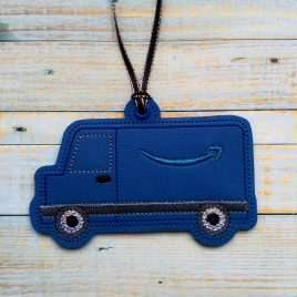 Blue Delivery Truck Ornament – Digital Embroidery Design