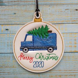 Blue Delivery Truck Merry Christmas 2020 Ornament – Digital Embroidery Design