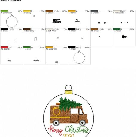 Brown Delivery Truck Merry Christmas 2020 ornament 4×4