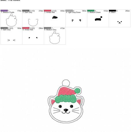 Christmas Cat eyelet 4×4