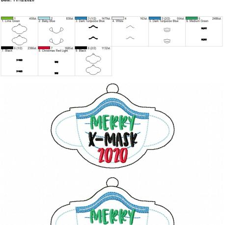 Merry XMask 2020 ornament 5×7 grouped