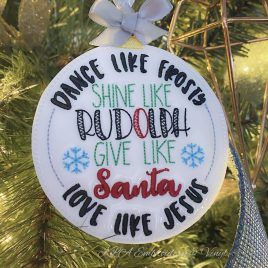 Dance shine give love Ornament – Digital Embroidery Design