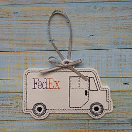 White Delivery Truck Ornament – Digital Embroidery Design