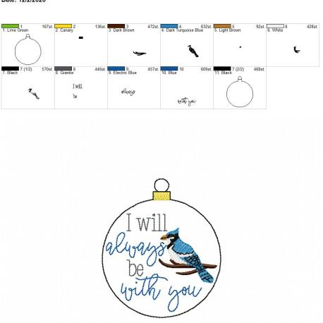 Blue Jay I will always be with you ornament 4×4