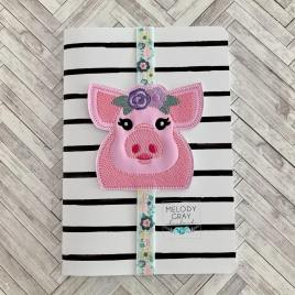 Floral Pig Book Band – Embroidery Design, Digital File