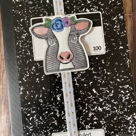 Floral Cow Book Band – Embroidery Design, Digital File