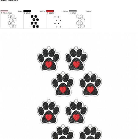 Paw heart earrings 1.5 inch 5×7 grouped