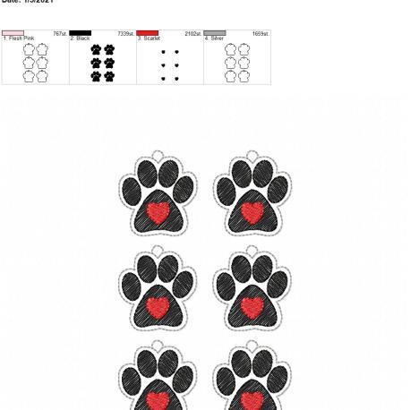 Paw heart earrings 1.75 inch 5×7 grouped