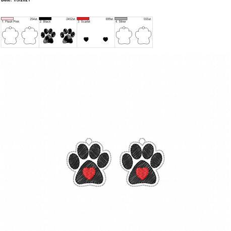 Paw heart earrings 1.75 inch