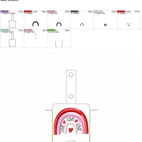 Boho Rainbow Love Sanitizer holder snap tab 5×7