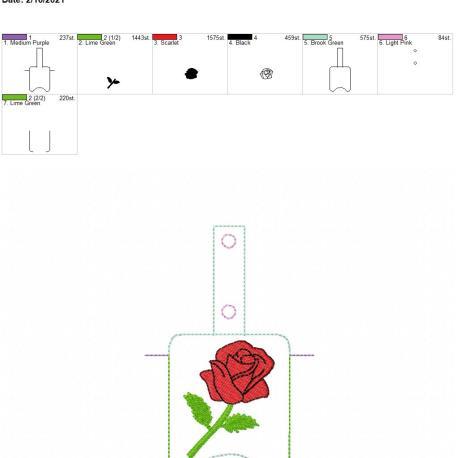 Rose Sanitizer holder snap tab 5×7