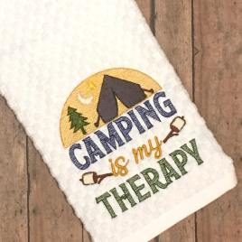 Camping is my therapy – 3 sizes- Digital Embroidery Design